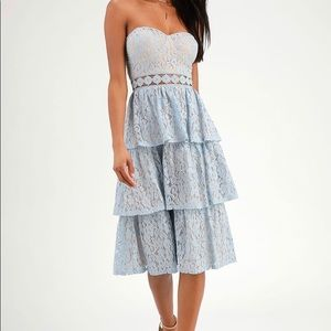 Lulu's Blue and nude strapless dress